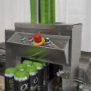 Minigun auto Paktech applicator for beverage canning and distribution with green paktech